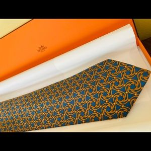 Authentic Hermes silk necktie: